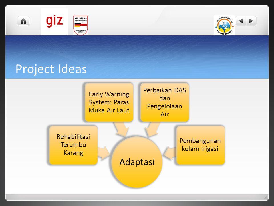 Project Ideas Adaptasi Rehabilitasi Terumbu Karang Early Warning System: Paras Muka Air Laut Perbaikan DAS dan Pengelolaan Air Pembangunan kolam iriga