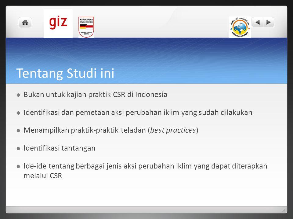 Tentang Studi ini  Bukan untuk kajian praktik CSR di Indonesia  Identifikasi dan pemetaan aksi perubahan iklim yang sudah dilakukan  Menampilkan pr