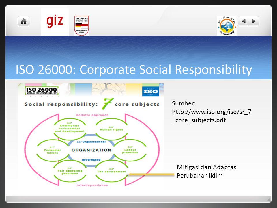 ISO 26000: Corporate Social Responsibility Sumber: http://www.iso.org/iso/sr_7 _core_subjects.pdf Mitigasi dan Adaptasi Perubahan Iklim