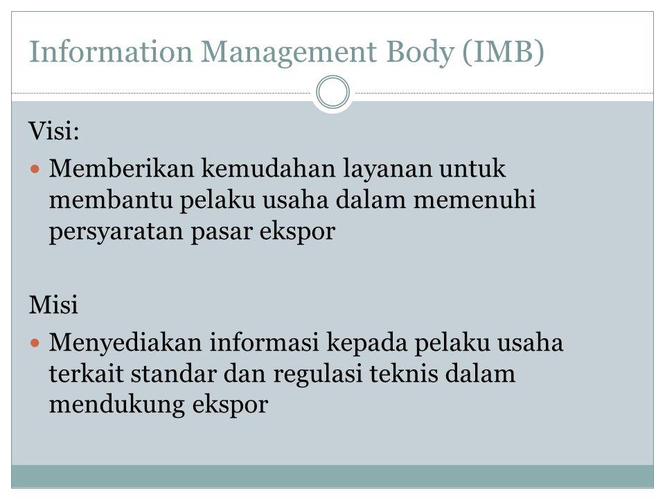 Information Management Body (IMB) Visi:  Memberikan kemudahan layanan untuk membantu pelaku usaha dalam memenuhi persyaratan pasar ekspor Misi  Meny