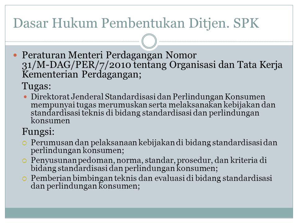 Dasar Hukum Pembentukan Ditjen. SPK  Peraturan Menteri Perdagangan Nomor 31/M-DAG/PER/7/2010 tentang Organisasi dan Tata Kerja Kementerian Perdaganga