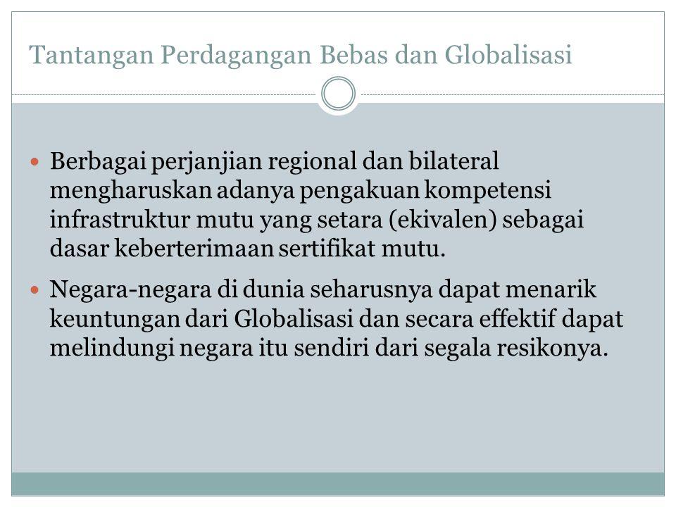 Tantangan Perdagangan Bebas dan Globalisasi  Berbagai perjanjian regional dan bilateral mengharuskan adanya pengakuan kompetensi infrastruktur mutu y