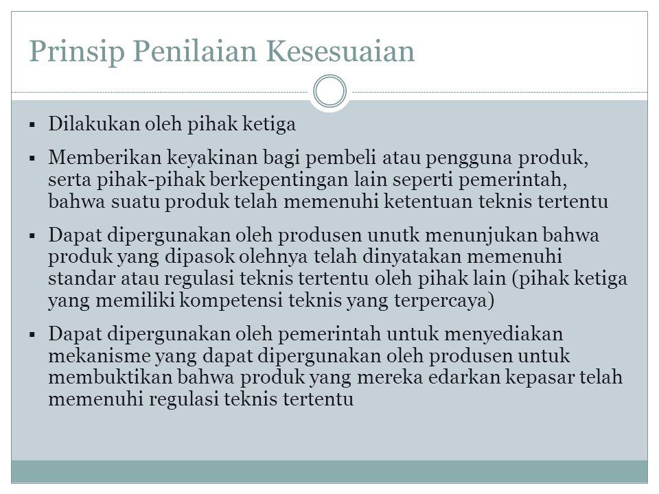 Kebijakan Standardisasi Bidang Perdagangan (1) Permendag 14 Tahun 2007 Pasal 21  LPK yang menerbitkan sertifikat kesesuaian merupakan Lembaga Sertifikasi Produk di dalam negeri atau di luar negeri yang didukung oleh laboratorium penguji dan atau lembaga inspeksi terakreditasi.