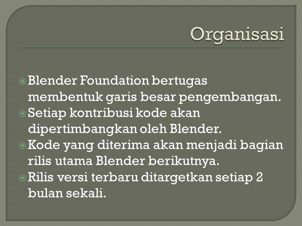  Blender Foundation bertugas membentuk garis besar pengembangan.  Setiap kontribusi kode akan dipertimbangkan oleh Blender.  Kode yang diterima aka