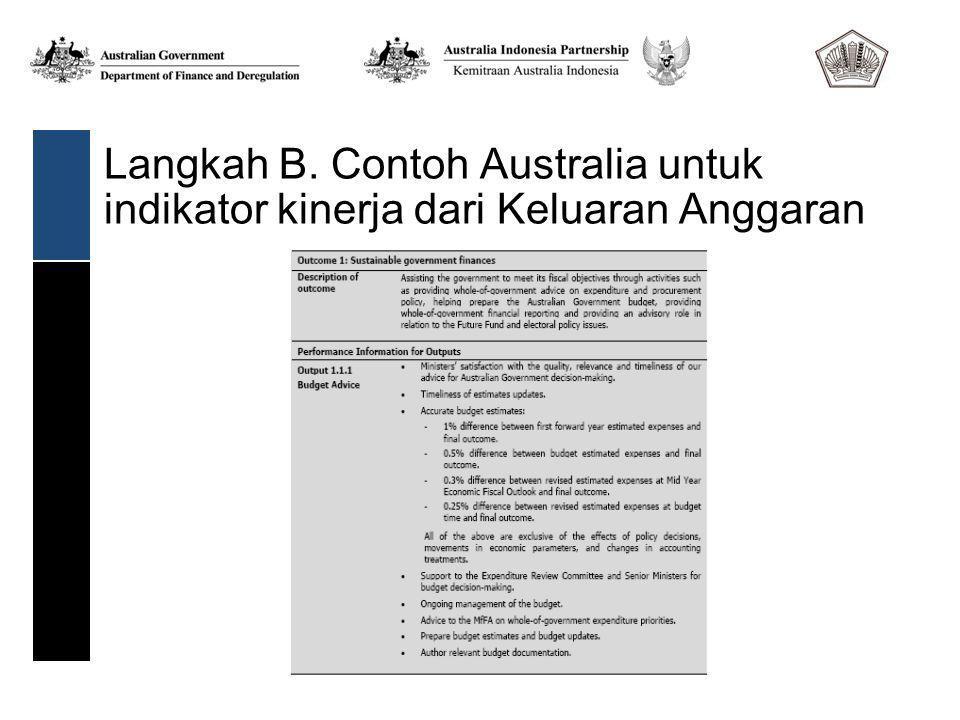 Langkah B. Contoh Australia untuk indikator kinerja dari Keluaran Anggaran