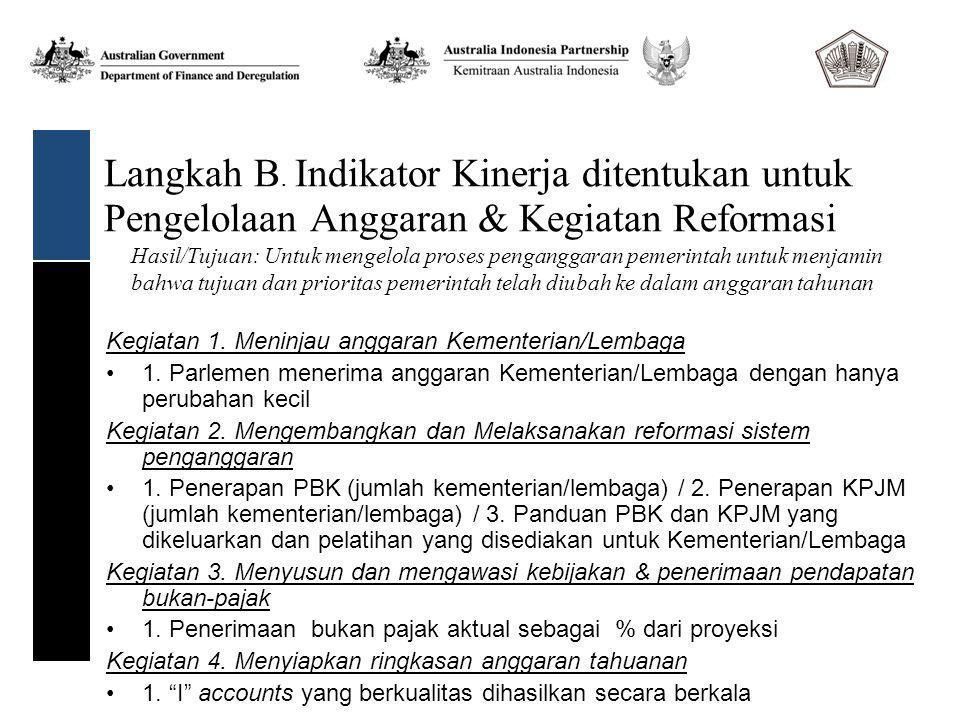 Langkah B. Indikator Kinerja ditentukan untuk Pengelolaan Anggaran & Kegiatan Reformasi Kegiatan 1.