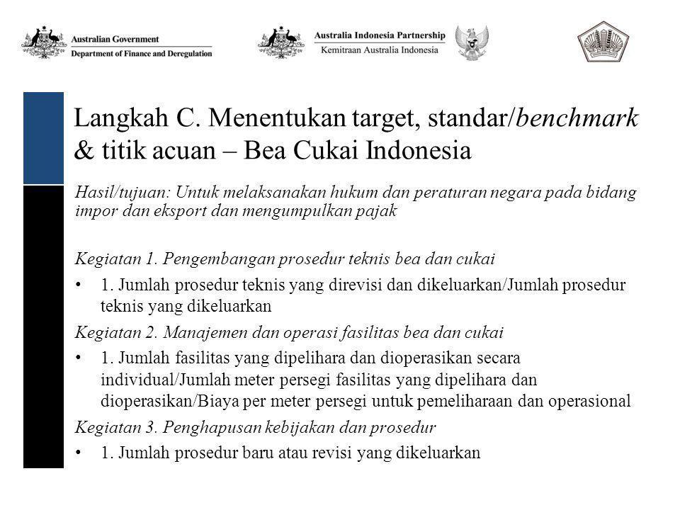 Langkah C. Menentukan target, standar/benchmark & titik acuan – Bea Cukai Indonesia Kegiatan 1.