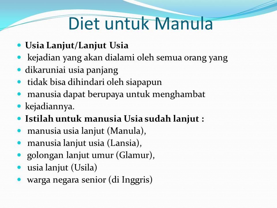 Diet untuk Manula  Usia Lanjut/Lanjut Usia  kejadian yang akan dialami oleh semua orang yang  dikaruniai usia panjang  tidak bisa dihindari oleh siapapun  manusia dapat berupaya untuk menghambat  kejadiannya.