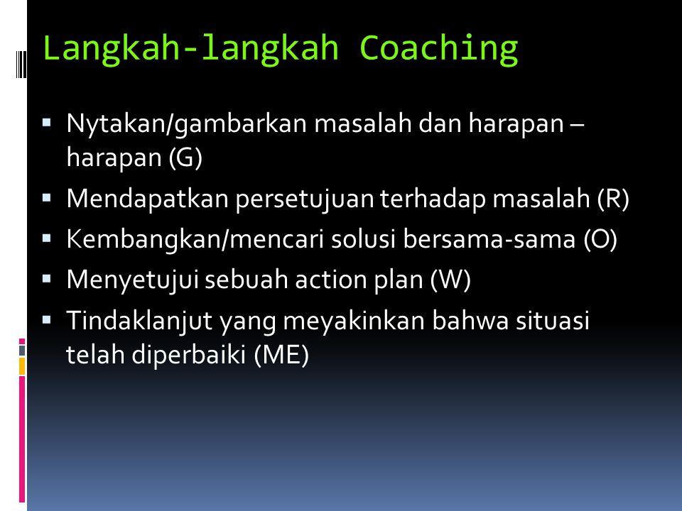 Langkah-langkah Coaching  Nytakan/gambarkan masalah dan harapan – harapan (G)  Mendapatkan persetujuan terhadap masalah (R)  Kembangkan/mencari sol