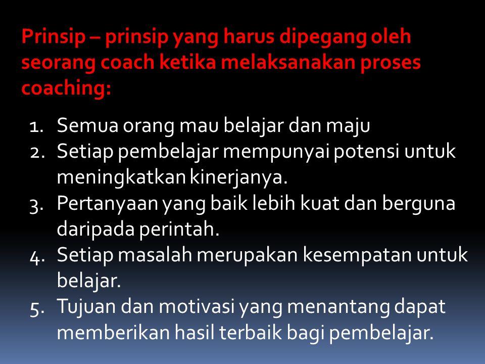 Langkah-langkah Coaching  Nytakan/gambarkan masalah dan harapan – harapan (G)  Mendapatkan persetujuan terhadap masalah (R)  Kembangkan/mencari solusi bersama-sama (O)  Menyetujui sebuah action plan (W)  Tindaklanjut yang meyakinkan bahwa situasi telah diperbaiki (ME)