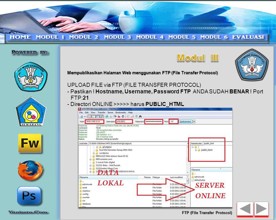 Mempublikasikan Halaman Web menggunakan FTP (File Transfer Protocol) 40 FTP (File Transfer Protocol)