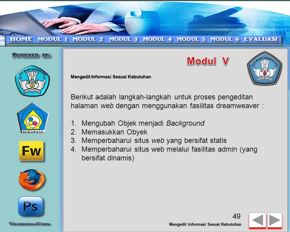 Mengedit Informasi Sesuai Kebutuhan Adobe Dreamweaver - Dreamweaver merupakan piranti lunak yang sangat baik untuk membuat halaman web.