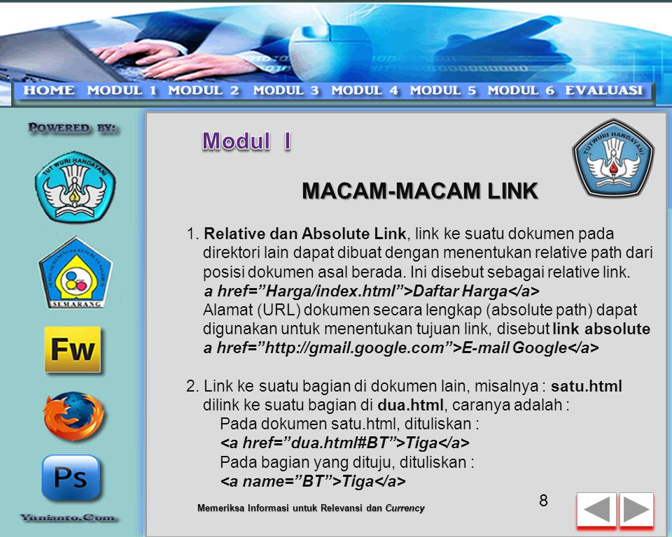 Dasar Link HTML Hyperlink Hyperlink merupakan sesuatu yang sangat penting di website, sebab hyperlink akan menghubungkan antara satu halaman dengan halaman lainnya baik dalam satu website maupun antar website.