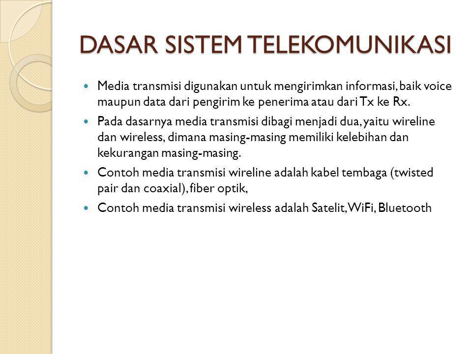 DASAR SISTEM TELEKOMUNIKASI  Media transmisi digunakan untuk mengirimkan informasi, baik voice maupun data dari pengirim ke penerima atau dari Tx ke Rx.