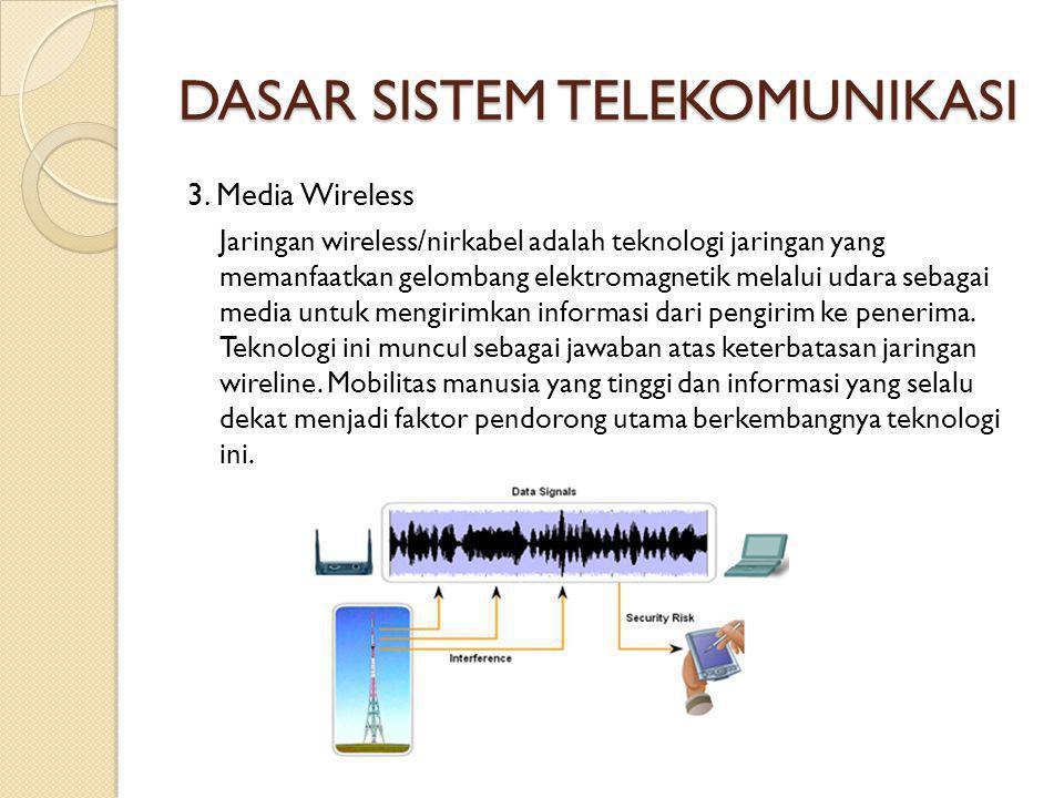 DASAR SISTEM TELEKOMUNIKASI 3. Media Wireless Jaringan wireless/nirkabel adalah teknologi jaringan yang memanfaatkan gelombang elektromagnetik melalui