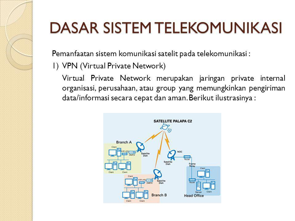 DASAR SISTEM TELEKOMUNIKASI Pemanfaatan sistem komunikasi satelit pada telekomunikasi : 1) VPN (Virtual Private Network) Virtual Private Network merup
