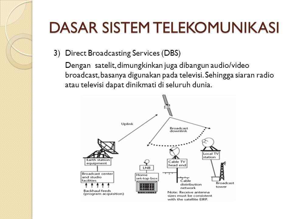 DASAR SISTEM TELEKOMUNIKASI 3) Direct Broadcasting Services (DBS) Dengan satelit, dimungkinkan juga dibangun audio/video broadcast, basanya digunakan pada televisi.
