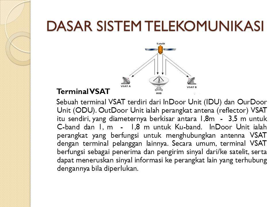 DASAR SISTEM TELEKOMUNIKASI Terminal VSAT Sebuah terminal VSAT terdiri dari InDoor Unit (IDU) dan OurDoor Unit (ODU). OutDoor Unit ialah perangkat ant