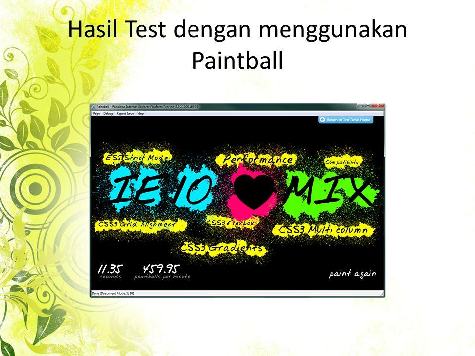 Hasil Test dengan menggunakan Paintball