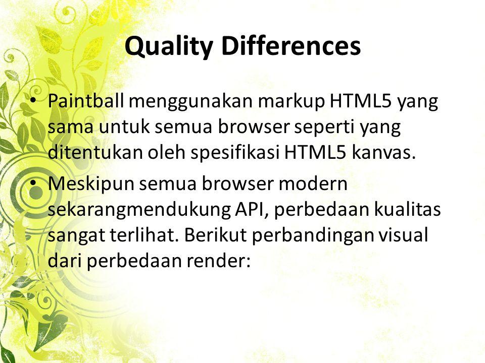 Quality Differences • Paintball menggunakan markup HTML5 yang sama untuk semua browser seperti yang ditentukan oleh spesifikasi HTML5 kanvas.