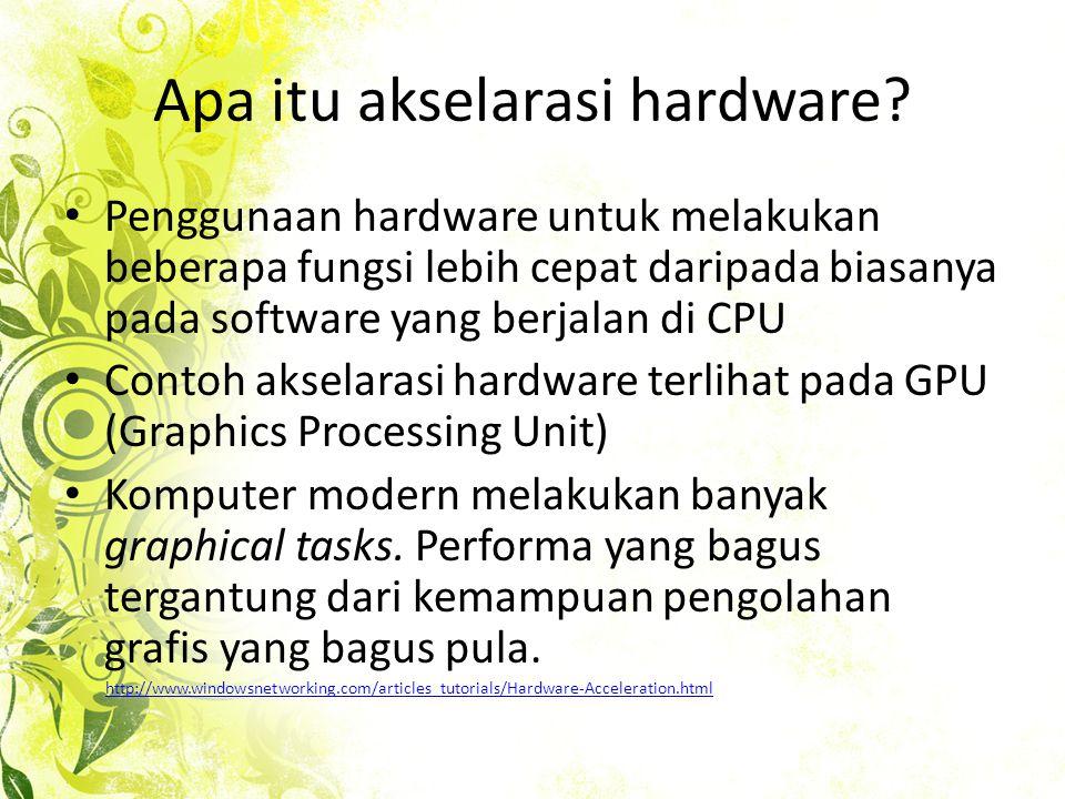 Apa itu akselarasi hardware.
