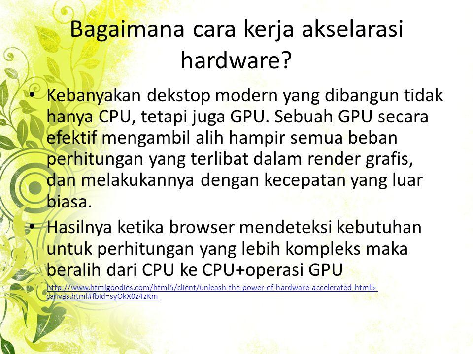 Perbandingan akselarasi hardware pada berbagai web browser • User dapat melihat perbedaan dalam kecepatan render yang diukur dengan kenik seperti Hardware Acceleration Stress Test.