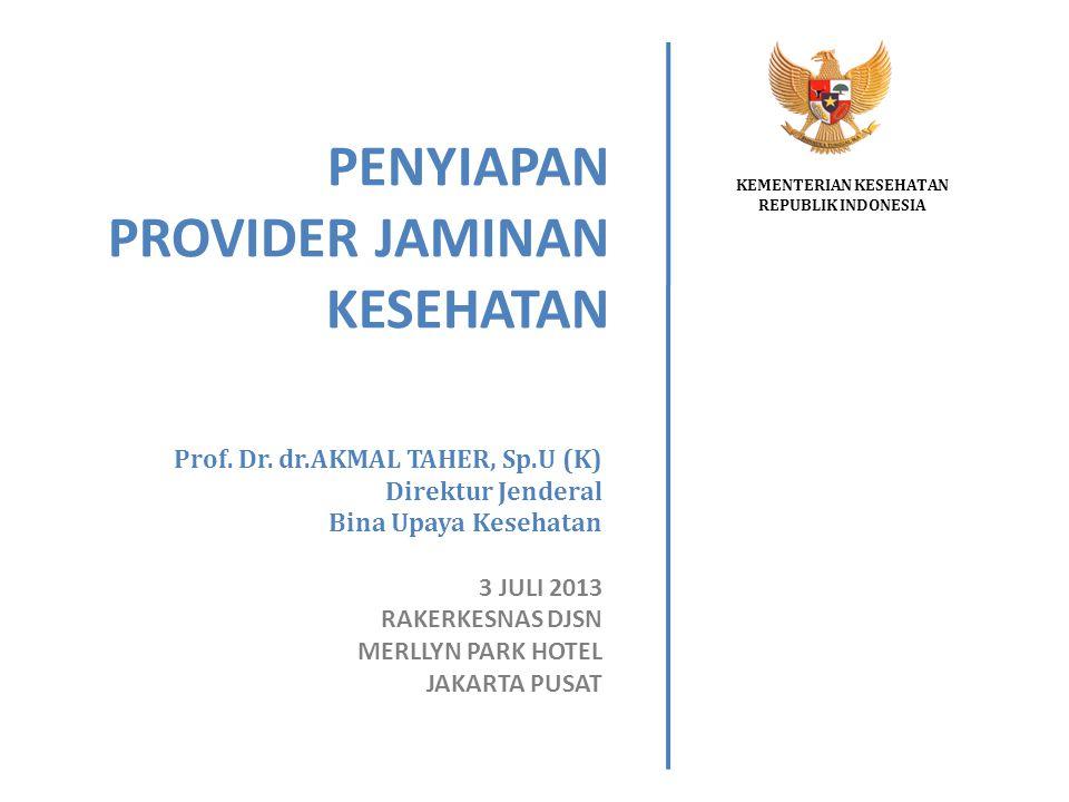 PENYIAPAN PROVIDER JAMINAN KESEHATAN KEMENTERIAN KESEHATAN REPUBLIK INDONESIA Prof. Dr. dr.AKMAL TAHER, Sp.U (K) Direktur Jenderal Bina Upaya Kesehata