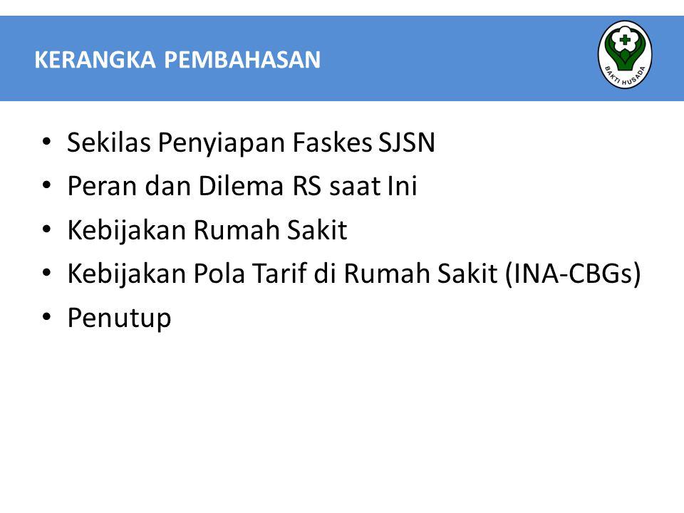  Termasuk dalam sistem Case-mix yang di Implementasikan di Indonesia saat ini  Dasar Pengelompokan dengan menggunakan :  ICD – 10 Untuk Diagnosa (14.500 kode)  ICD – 9 CM Untuk Prosedur/Tindakan (7.500 kode)  Dijalankan dengan menggunakan Grouper dari United Nation University – International Institute for Global Health (UNU-IIGH)  Tarif INA CBGs a.Pelayanan Rawat Inap Merupakan paket jasa pelayanan, prosedur/tindakan, penggunaan alat, ruang perawatan, serta obat-obatan dan bahan habis pakai yang diperlukan b.Pelayanan Rawat Jalan Merupakan paket jasa pelayanan kesehatan pasien rawat jalan sudah termasuk Jasa pelayanan, Pemeriksaan penunjang Prosedur/ tindakan, Obat- obatan yang dibawa pulang, Bahan habis pakai lainnya Tarif INA-CBGs Indonesia Case Base Groups
