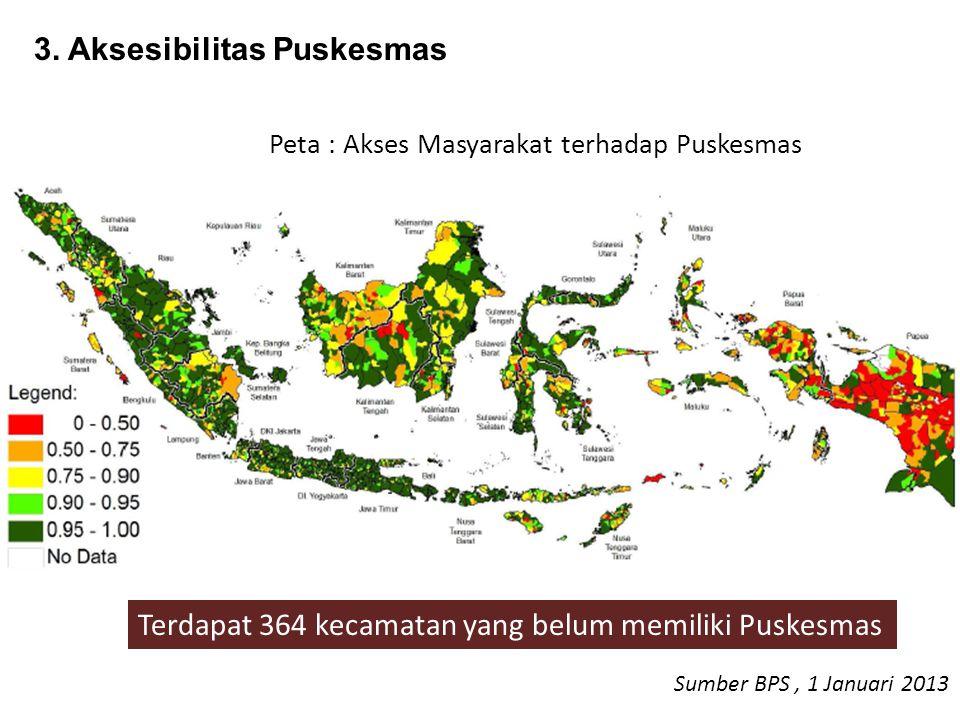 Peta : Akses Masyarakat terhadap Puskesmas Terdapat 364 kecamatan yang belum memiliki Puskesmas Sumber BPS, 1 Januari 2013 3. Aksesibilitas Puskesmas