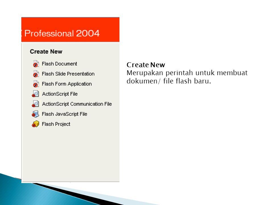 Create New Merupakan perintah untuk membuat dokumen/ file flash baru.
