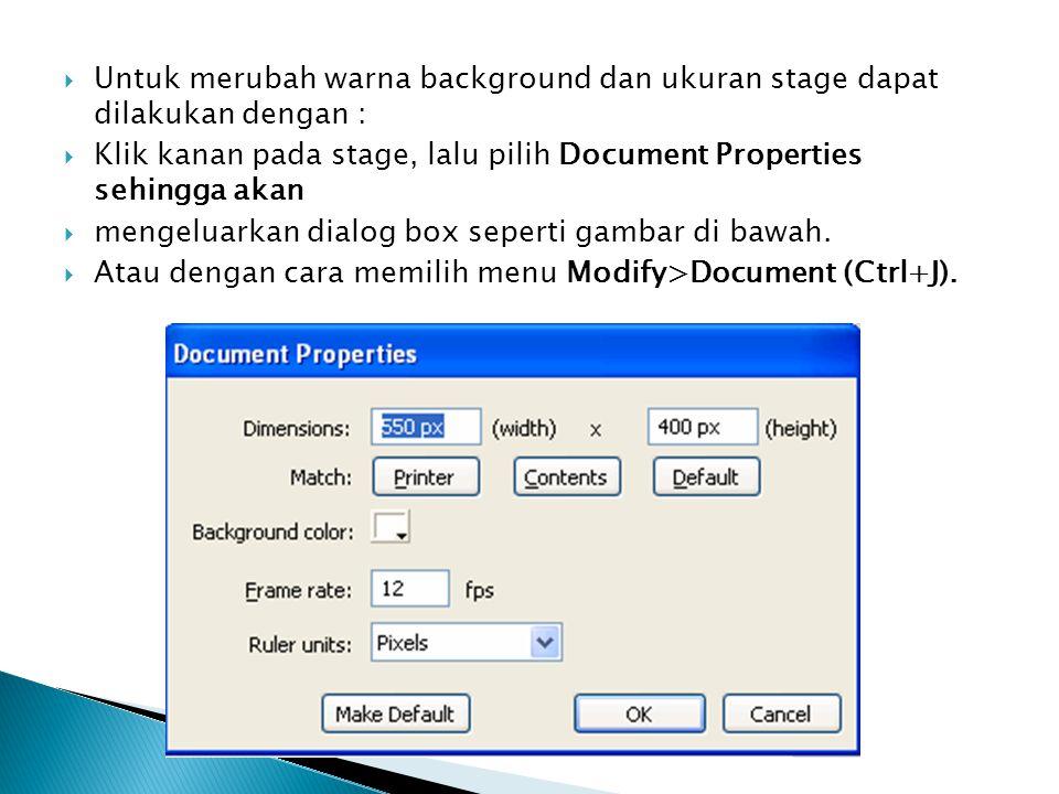  Untuk merubah warna background dan ukuran stage dapat dilakukan dengan :  Klik kanan pada stage, lalu pilih Document Properties sehingga akan  men
