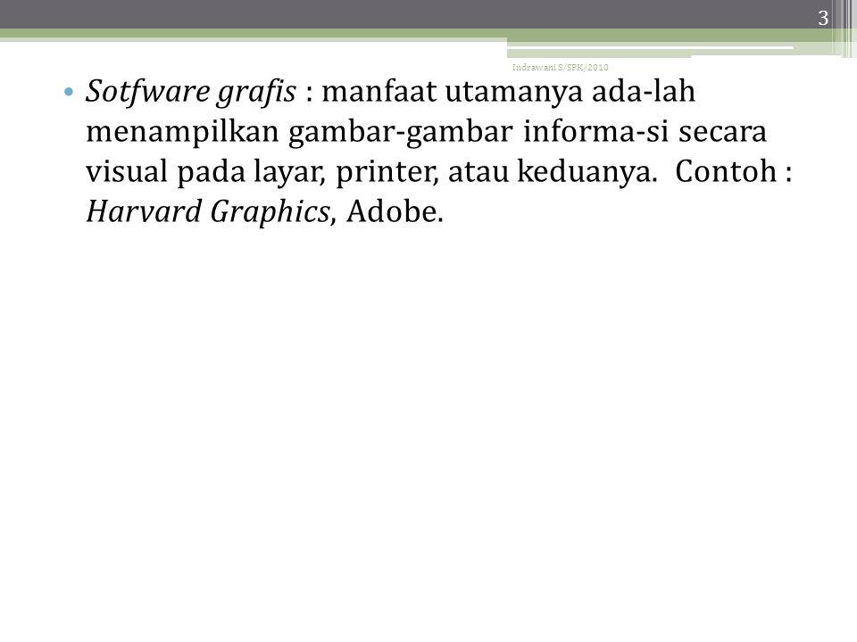 Indrawani S/SPK/2010 3 • Sotfware grafis : manfaat utamanya ada-lah menampilkan gambar-gambar informa-si secara visual pada layar, printer, atau keduanya.