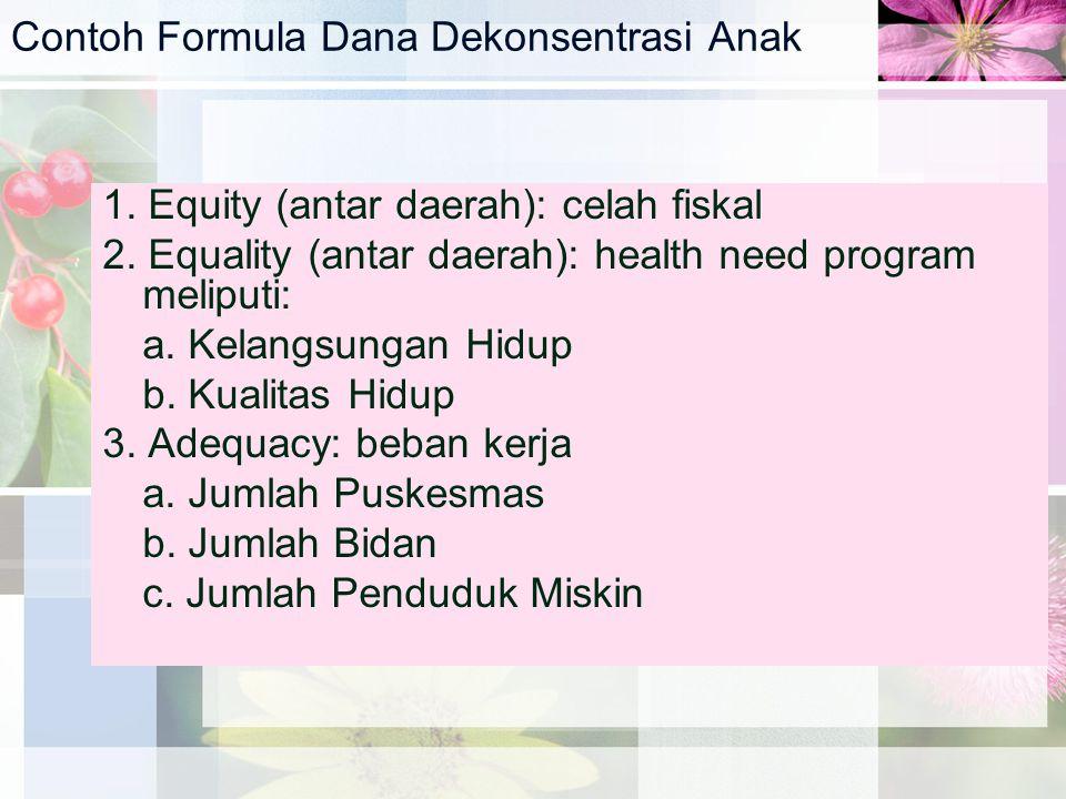 Contoh Formula Dana Dekonsentrasi Anak 1. Equity (antar daerah): celah fiskal 2. Equality (antar daerah): health need program meliputi: a. Kelangsunga