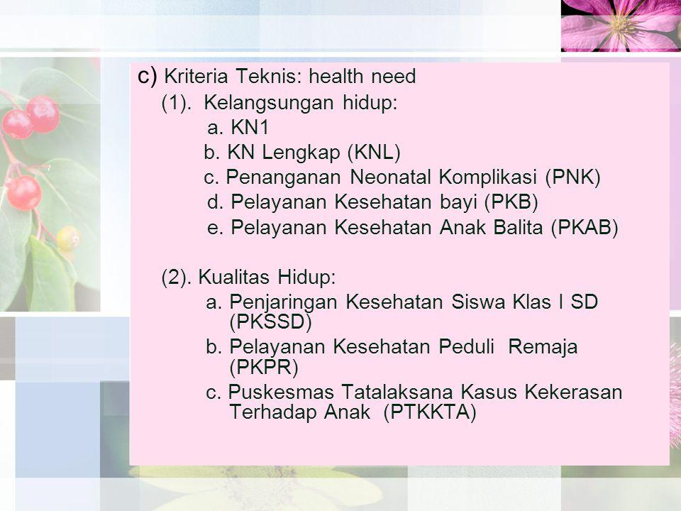 c) Kriteria Teknis: health need (1). Kelangsungan hidup: a. KN1 b. KN Lengkap (KNL) c. Penanganan Neonatal Komplikasi (PNK) d. Pelayanan Kesehatan bay