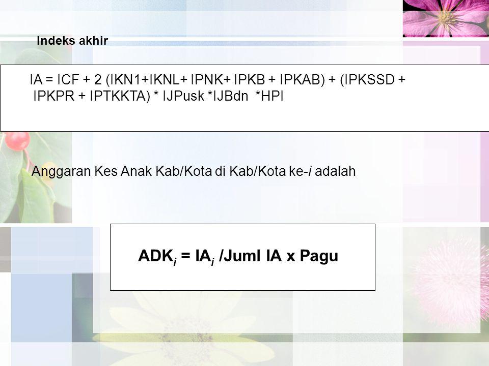 IA = ICF + 2 (IKN1+IKNL+ IPNK+ IPKB + IPKAB) + (IPKSSD + IPKPR + IPTKKTA) * IJPusk *IJBdn *HPI ADK i = IA i /Juml IA x Pagu Anggaran Kes Anak Kab/Kota