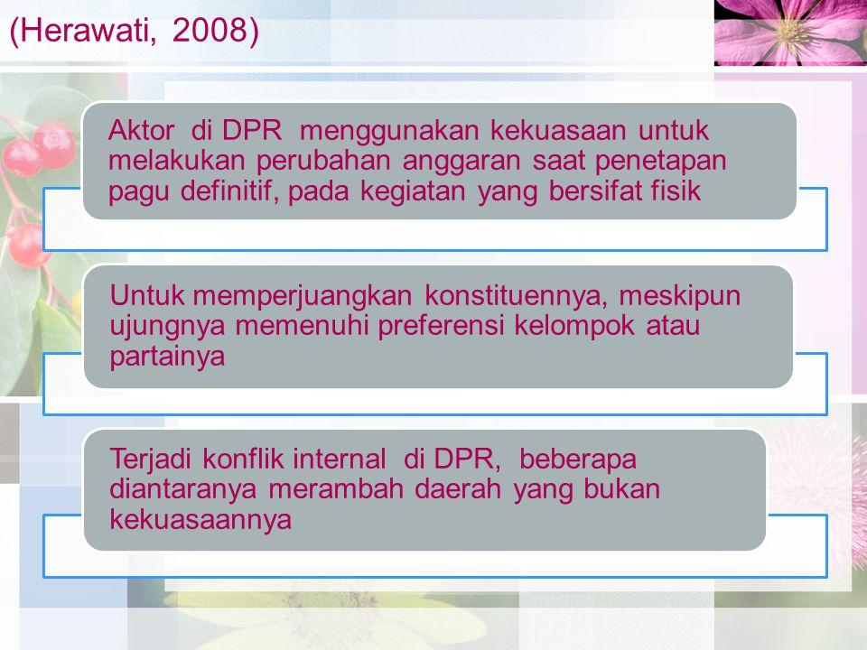 (Herawati, 2008) Aktor di DPR menggunakan kekuasaan untuk melakukan perubahan anggaran saat penetapan pagu definitif, pada kegiatan yang bersifat fisi