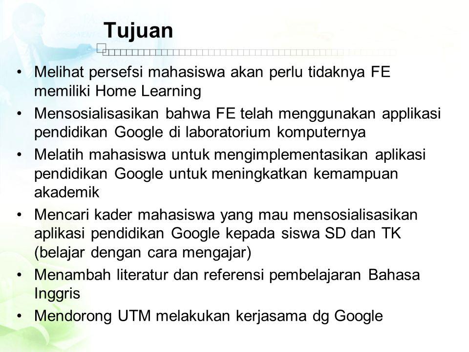Tujuan •Melihat persefsi mahasiswa akan perlu tidaknya FE memiliki Home Learning •Mensosialisasikan bahwa FE telah menggunakan applikasi pendidikan Go