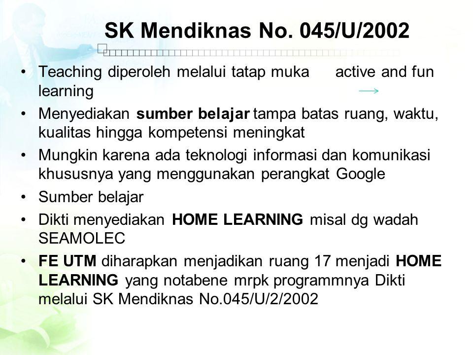 SK Mendiknas No. 045/U/2002 •Teaching diperoleh melalui tatap muka active and fun learning •Menyediakan sumber belajar tampa batas ruang, waktu, kuali