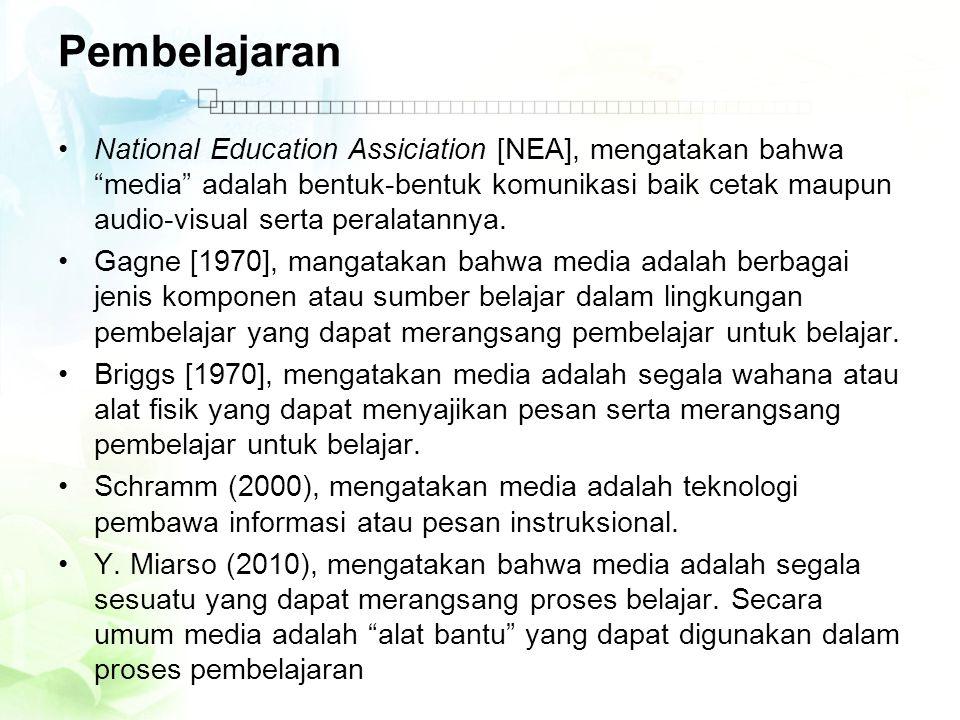 Pembelajaran •National Education Assiciation [NEA], mengatakan bahwa media adalah bentuk-bentuk komunikasi baik cetak maupun audio-visual serta peralatannya.