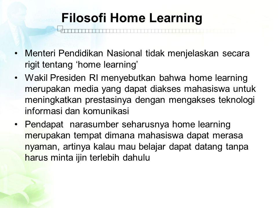 Filosofi Home Learning •Menteri Pendidikan Nasional tidak menjelaskan secara rigit tentang 'home learning' •Wakil Presiden RI menyebutkan bahwa home l