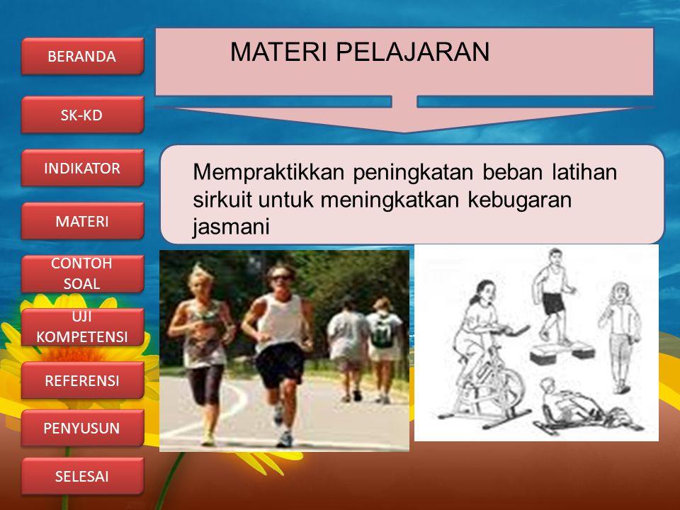 MATERI PELAJARAN Mempraktikkan peningkatan beban latihan sirkuit untuk meningkatkan kebugaran jasmani BERANDA REFERENSI UJI KOMPETENSI UJI KOMPETENSI