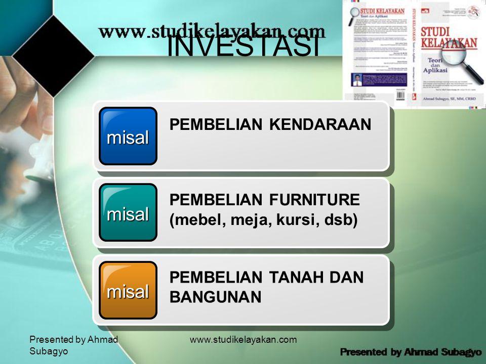 Presented by Ahmad Subagyo www.studikelayakan.com INVESTASI misal PEMBELIAN KENDARAAN misal PEMBELIAN FURNITURE (mebel, meja, kursi, dsb) misal PEMBELIAN TANAH DAN BANGUNAN