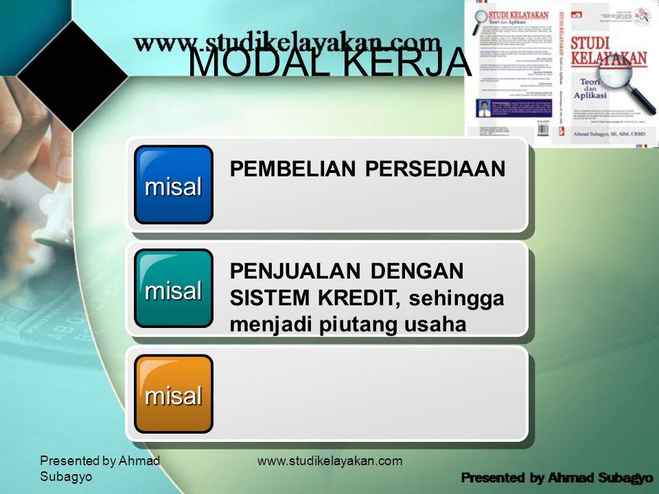 Presented by Ahmad Subagyo www.studikelayakan.com MODAL KERJA misal PEMBELIAN PERSEDIAAN misal PENJUALAN DENGAN SISTEM KREDIT, sehingga menjadi piutang usaha misal