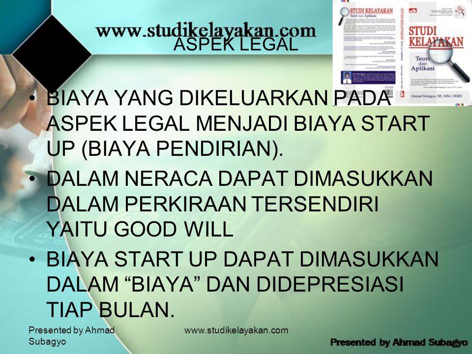 Presented by Ahmad Subagyo www.studikelayakan.com ASPEK LEGAL •BIAYA YANG DIKELUARKAN PADA ASPEK LEGAL MENJADI BIAYA START UP (BIAYA PENDIRIAN).