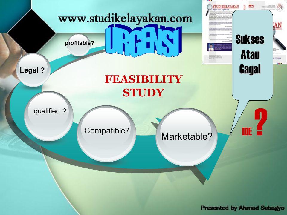FEASIBILITY STUDY profitable? Legal ? qualified ? Marketable? Compatible? SuksesAtauGagal IDE ?