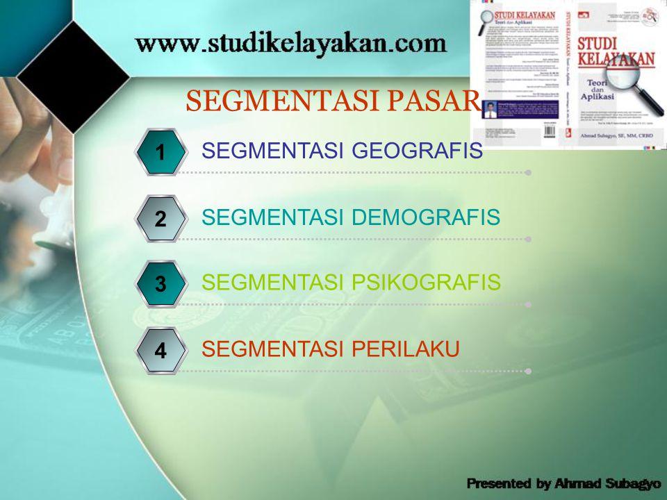 SEGMENTASI PASAR SEGMENTASI GEOGRAFIS 1 SEGMENTASI DEMOGRAFIS 2 SEGMENTASI PSIKOGRAFIS 3 SEGMENTASI PERILAKU 4