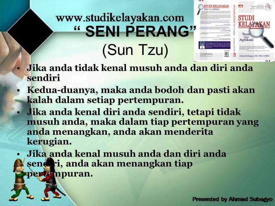 SENI PERANG (Sun Tzu) •Jika anda tidak kenal musuh anda dan diri anda sendiri •Kedua-duanya, maka anda bodoh dan pasti akan kalah dalam setiap pertempuran.
