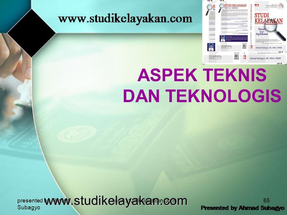 presented by Ahmad Subagyo www.studikelayakan.com65 ASPEK TEKNIS DAN TEKNOLOGIS www.studikelayakan.com