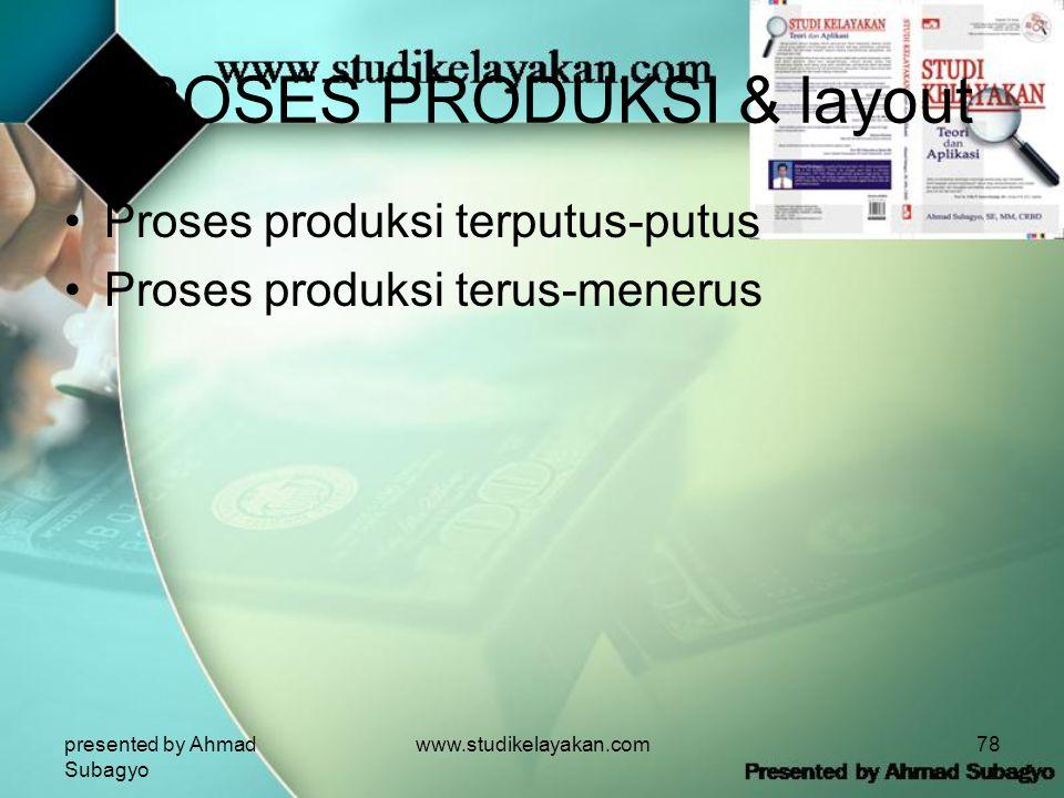 presented by Ahmad Subagyo www.studikelayakan.com78 PROSES PRODUKSI & layout •Proses produksi terputus-putus •Proses produksi terus-menerus