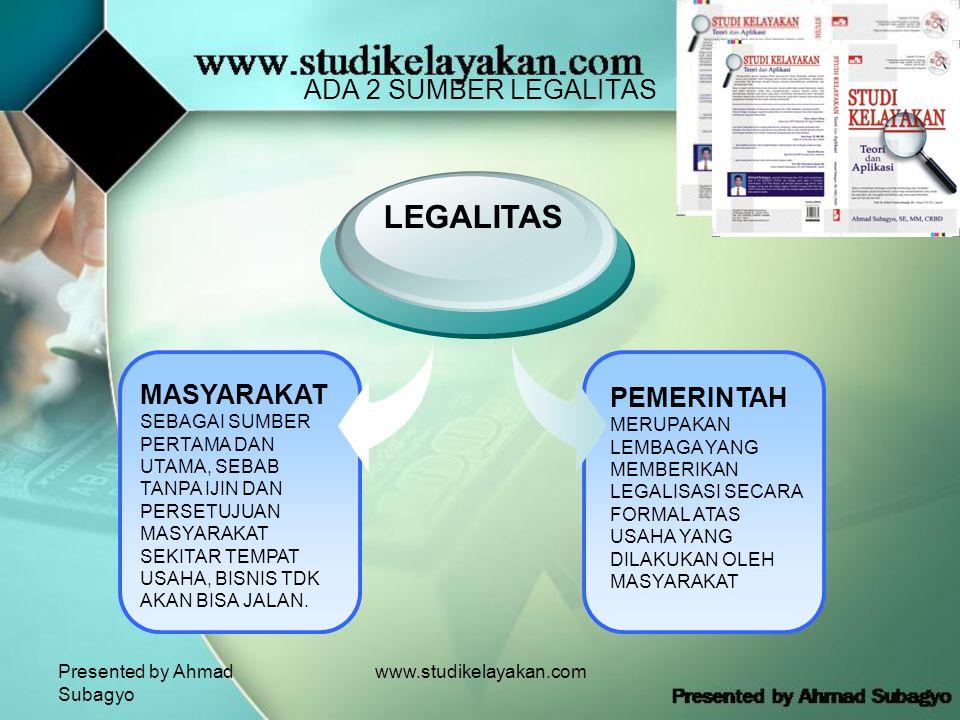 Presented by Ahmad Subagyo www.studikelayakan.com ADA 2 SUMBER LEGALITAS MASYARAKAT SEBAGAI SUMBER PERTAMA DAN UTAMA, SEBAB TANPA IJIN DAN PERSETUJUAN MASYARAKAT SEKITAR TEMPAT USAHA, BISNIS TDK AKAN BISA JALAN.